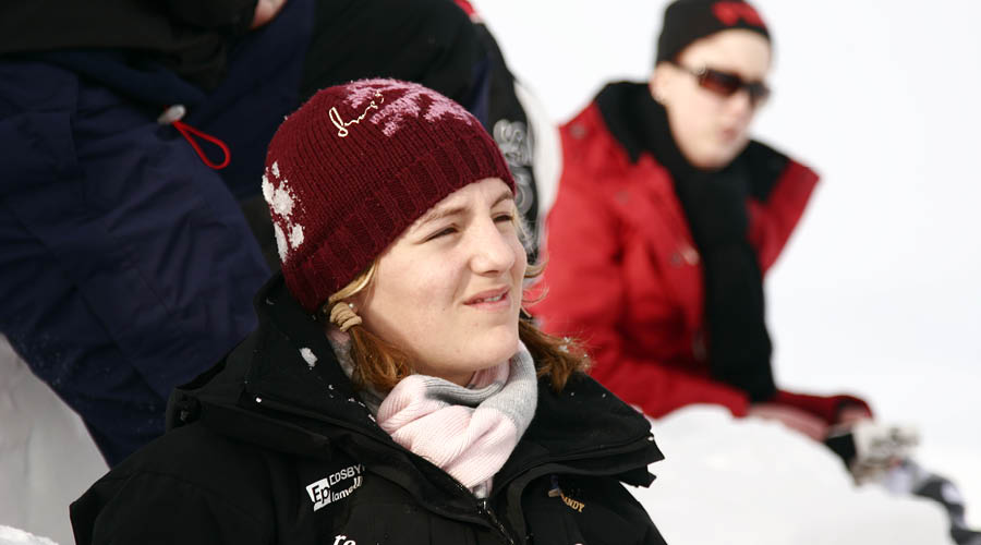 På bilden: Johanna i snön på läger med Min Stora Dag
