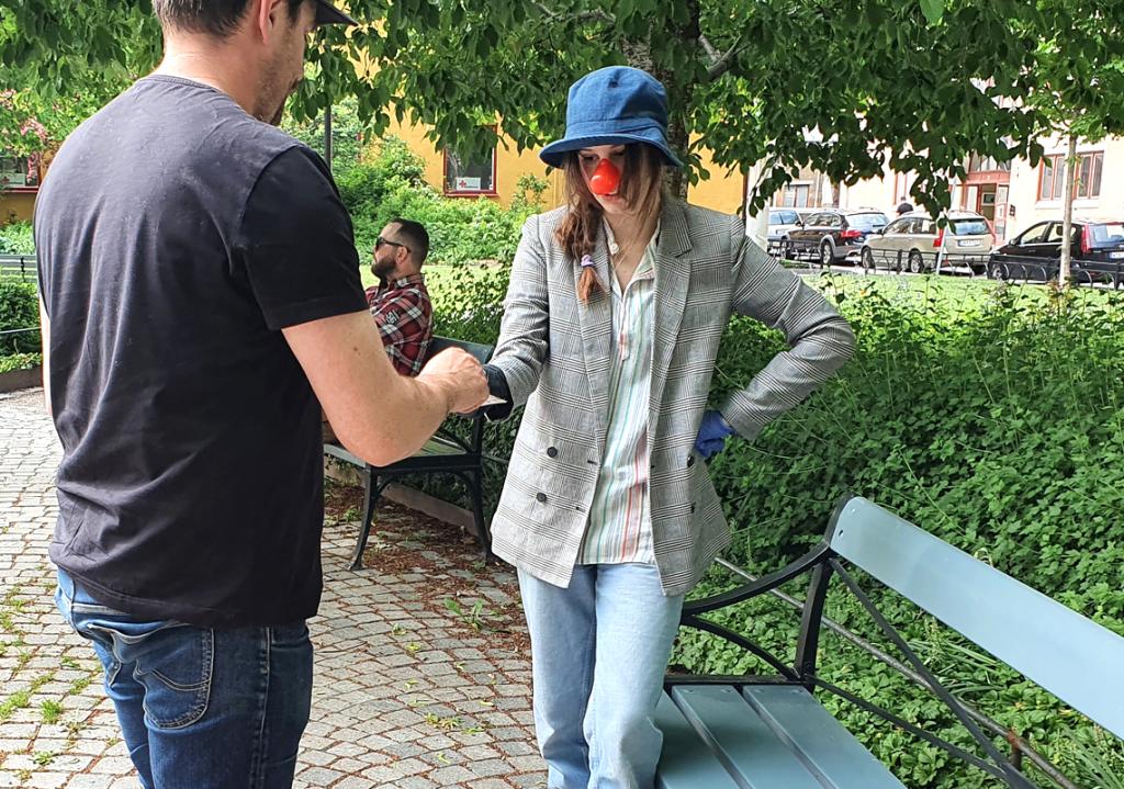 Marija framträdde som clown som en del av Sundsvalls gatuartister